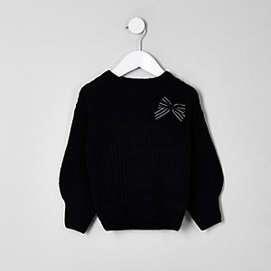 Mini black balloon sleeve knit bow sweater
