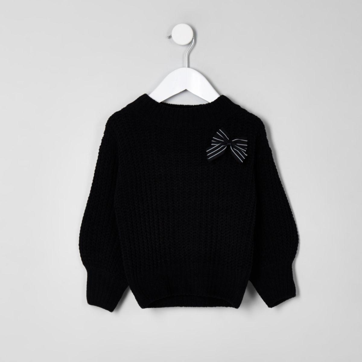 Mini black balloon sleeve knit bow sweater