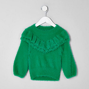 Pull en maille duveteuse vert à volants mini fille