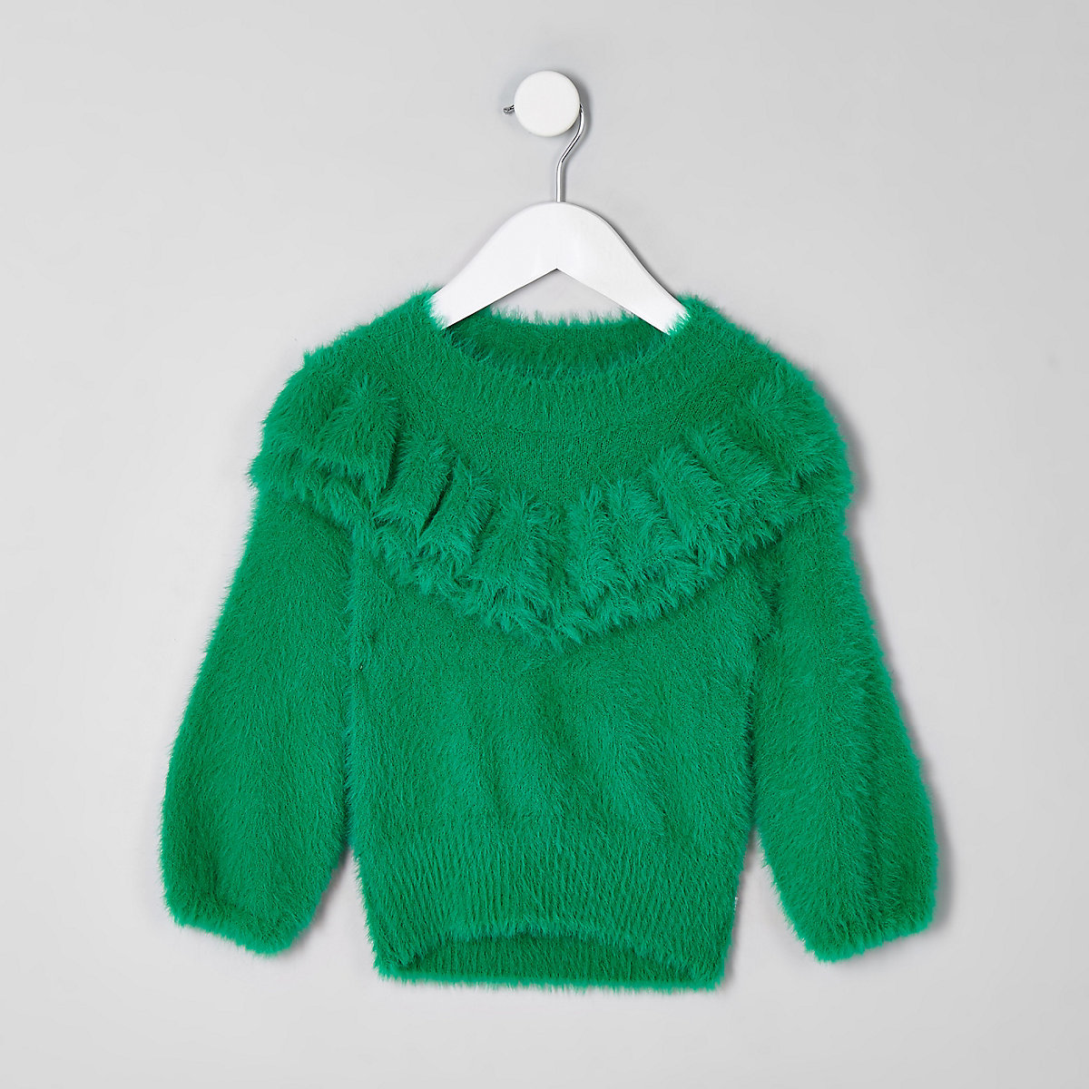 Mini girls green frill fluffy knit sweater