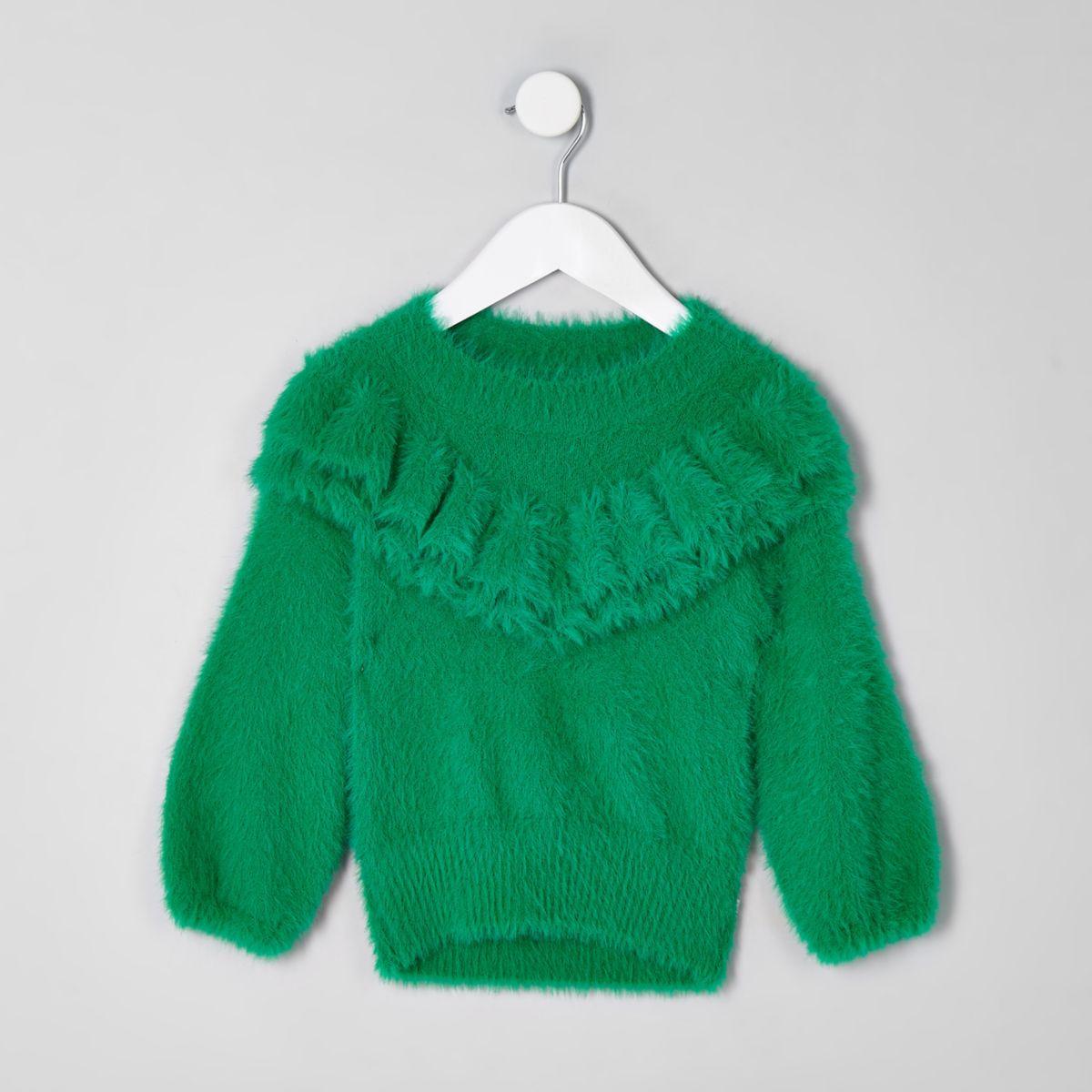 Mini girls green frill fluffy knit sweater