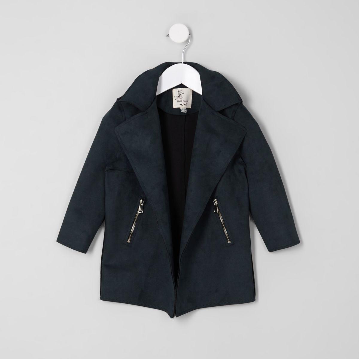 Mini girls navy waterfall jacket