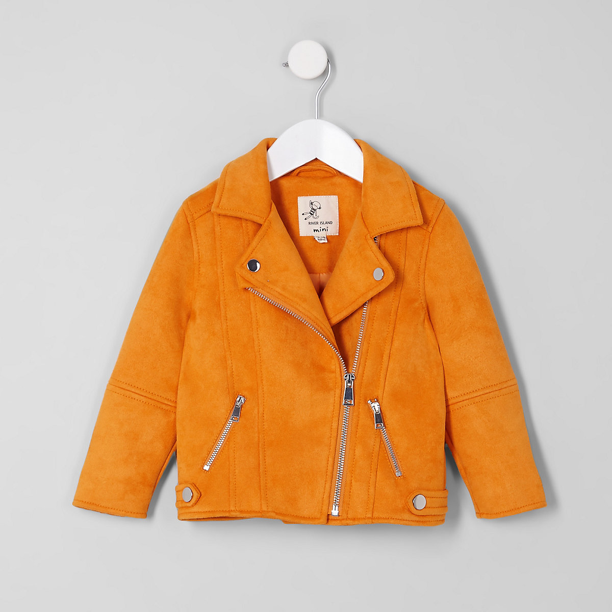 Mini girls yellow faux suede biker jacket