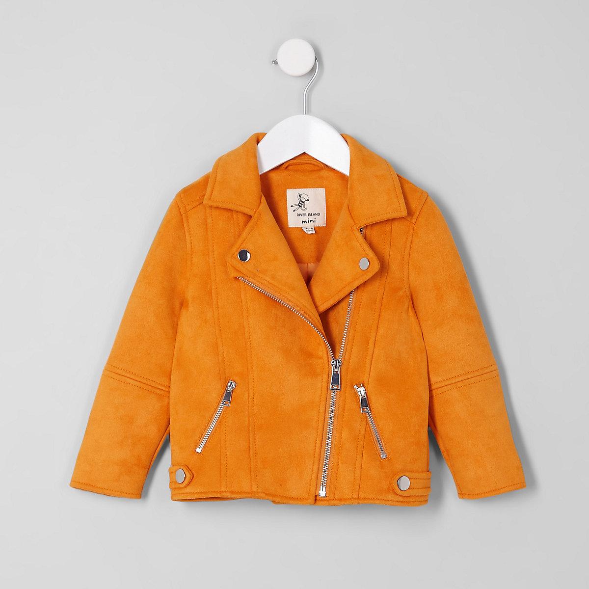 Mini girls yellow faux suede biker jacket