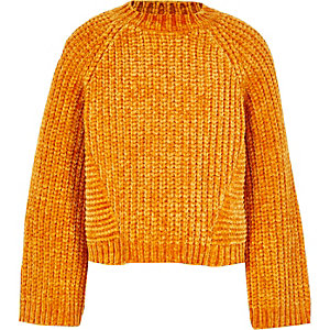 Girls orange chenille knit jumper
