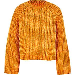Pull en maille chenille orange pour fille
