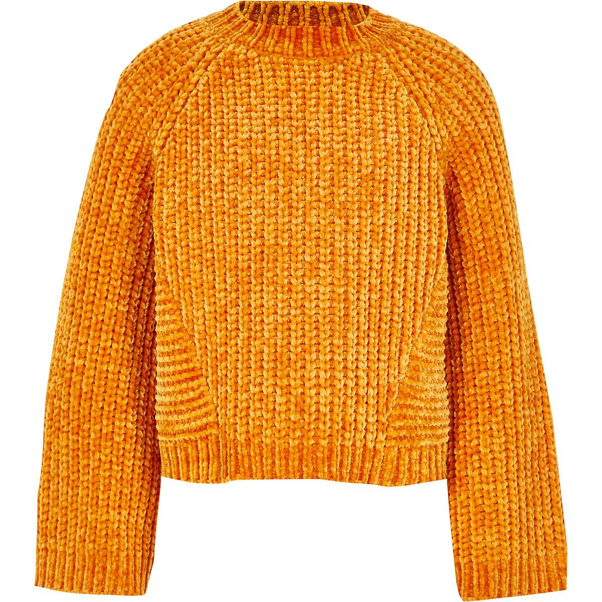 Girls orange chenille knit sweater