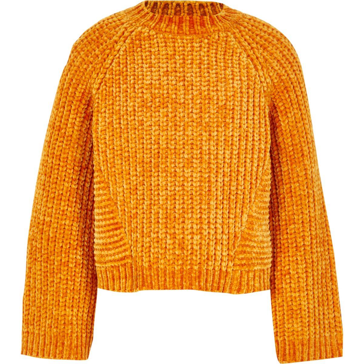 Girls orange chenille knit jumper