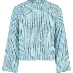 Girls blue chenille knit jumper