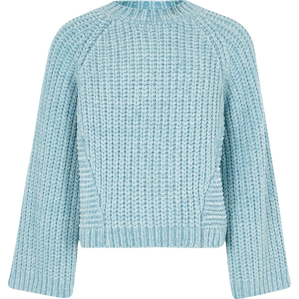 Girls blue chenille knit sweater