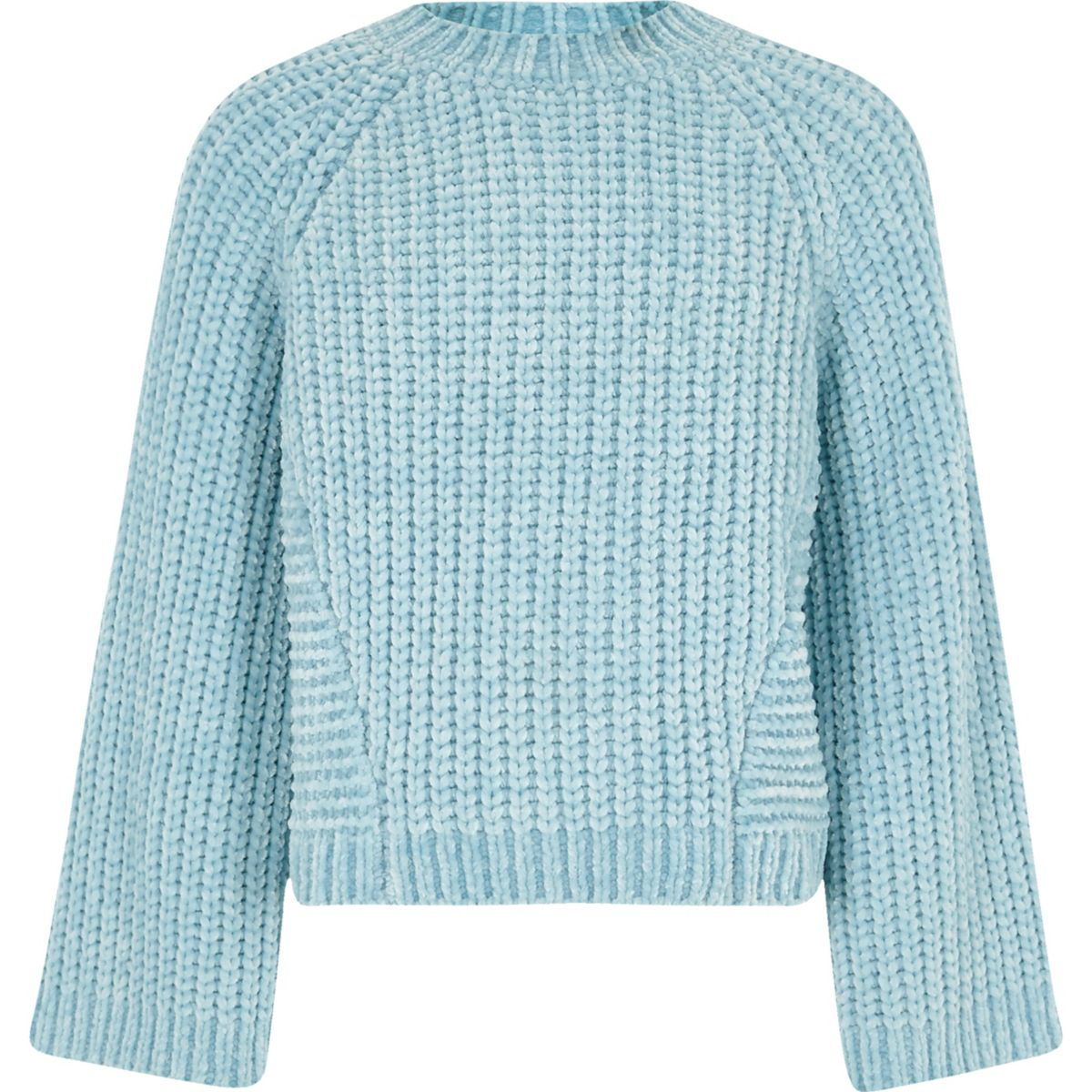 Girls blue chenille knit sweater