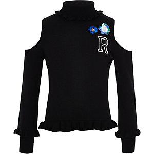 Schwarzer, verzierter Pullover mit Schulterausschnitten