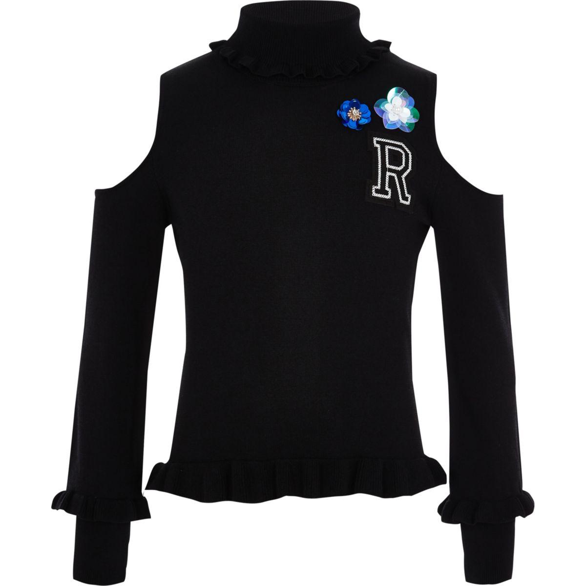 Girls black embellished cold shoulder jumper