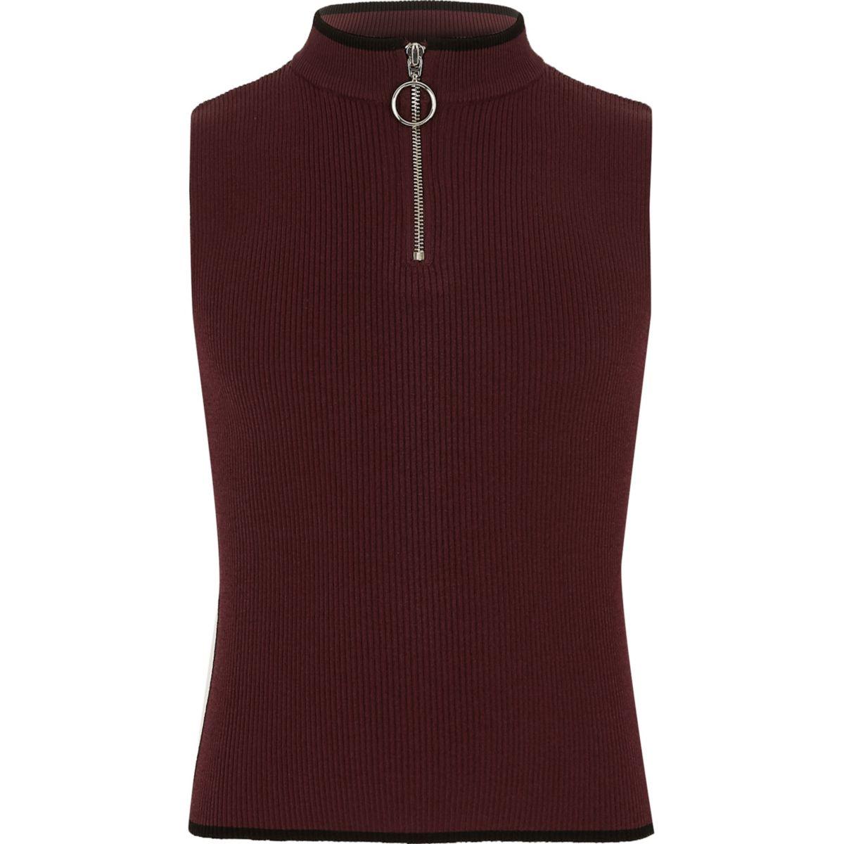 Girls dark red rib knit zip neck tank top