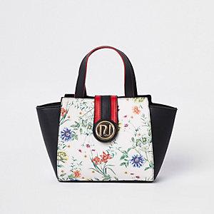 Zwarte RI-handtas met bloemenprint en zijvlakken voor meisjes
