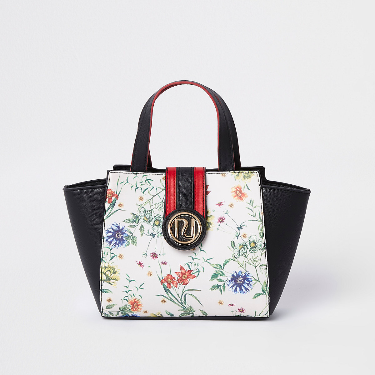 Girls black floral print winged RI tote bag