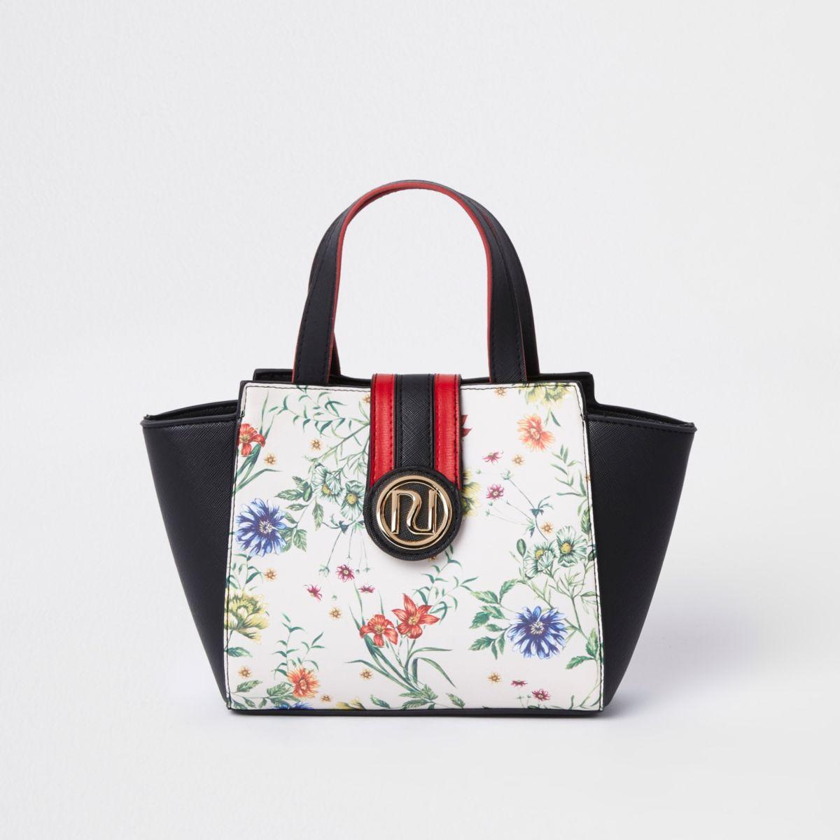 Girls black floral print winged RI tote bag