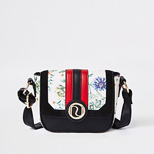Girls black floral print cross body bag