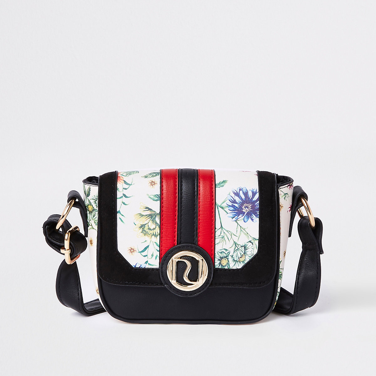 Girls black floral print cross body bag