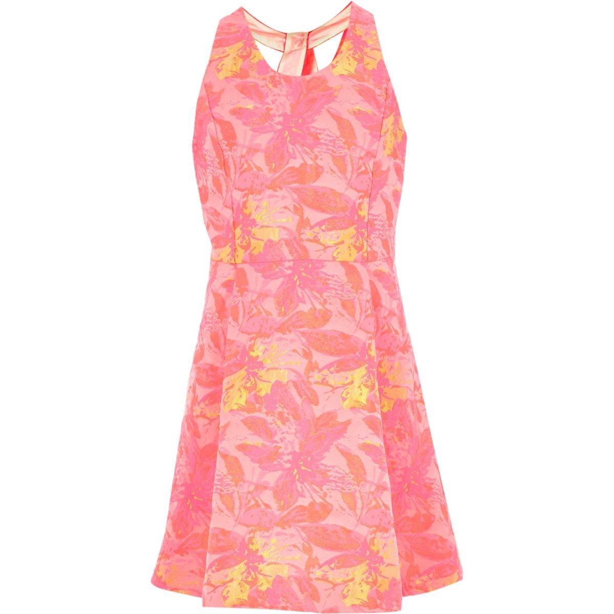 Girls pink jacquard twist back prom dress
