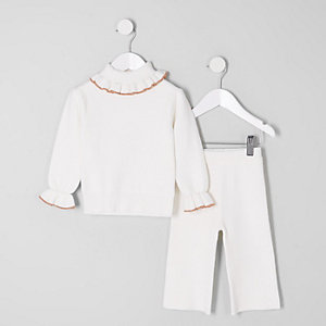 Mini girls cream knit roll neck outfit