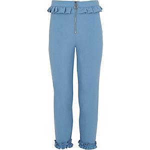 Girls blue frill zip cigarette pants