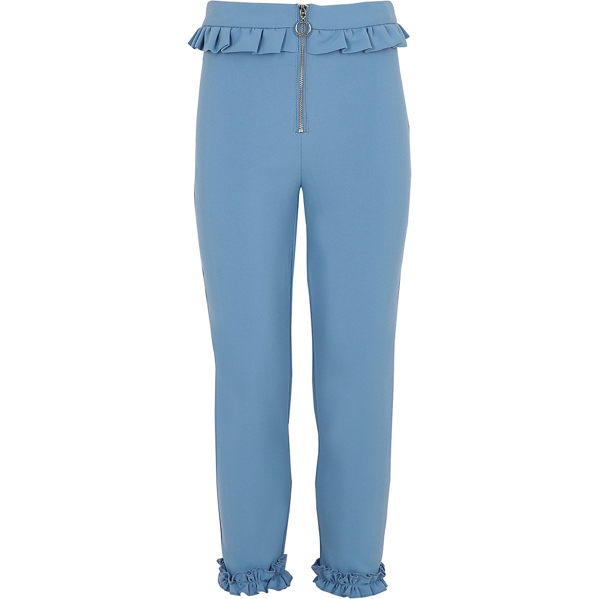 Girls blue frill zip cigarette trousers