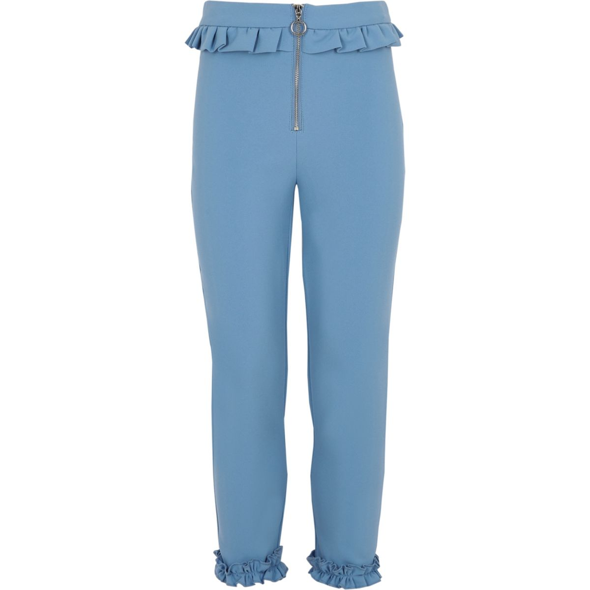 Girls blue frill zip cigarette trousers