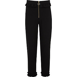 Girls black frill zip cigarette trousers
