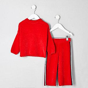 Ensemble avec pull en maille rouge mini fille