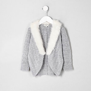 Mini girls grey cable knit faux fur cardigan