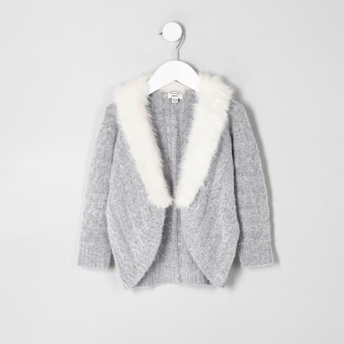 Mini girls grey cable knit faux fur cardigan