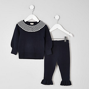 Mini girls navy knit clown collar outfit