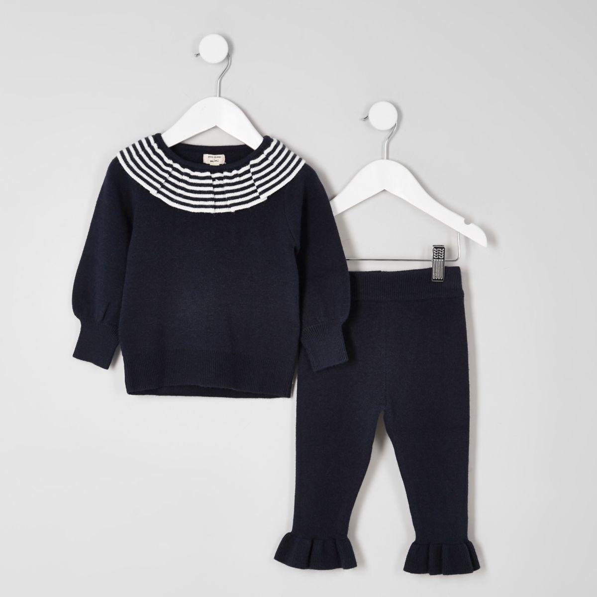 Mini girls navy knit clown collar outfit