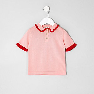 Mini girls pink knit frill polo shirt