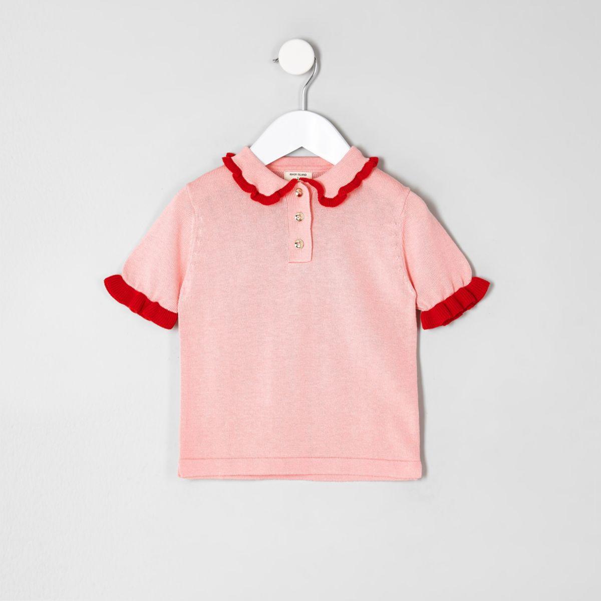Mini girls pink knit frill polo shirt