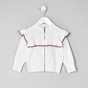 Mini - Crème vest met rits voor en ruches voor meisjes