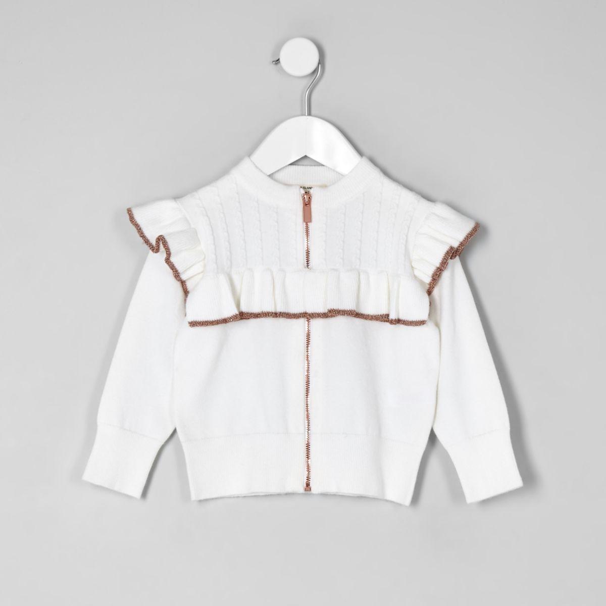 Mini girls cream frill zip front cardigan