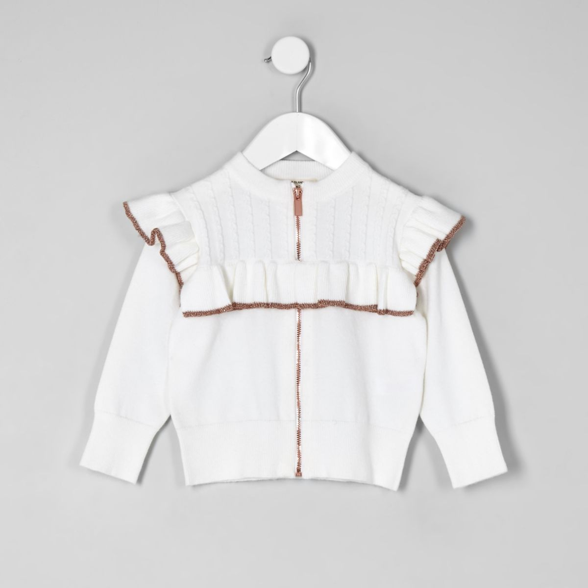 Mini girls cream frill zip front cardigan