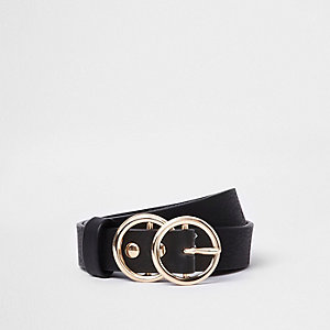 Girls black double circle belt