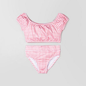 Mini girls pink gingham bardot bikini