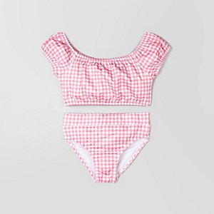 Mini - Roze bardotbikini met gingham-ruit voor meisjes