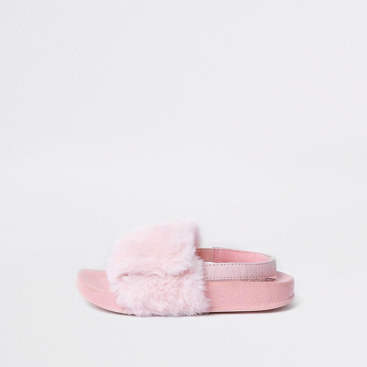 Mini girls pink faux fur sliders