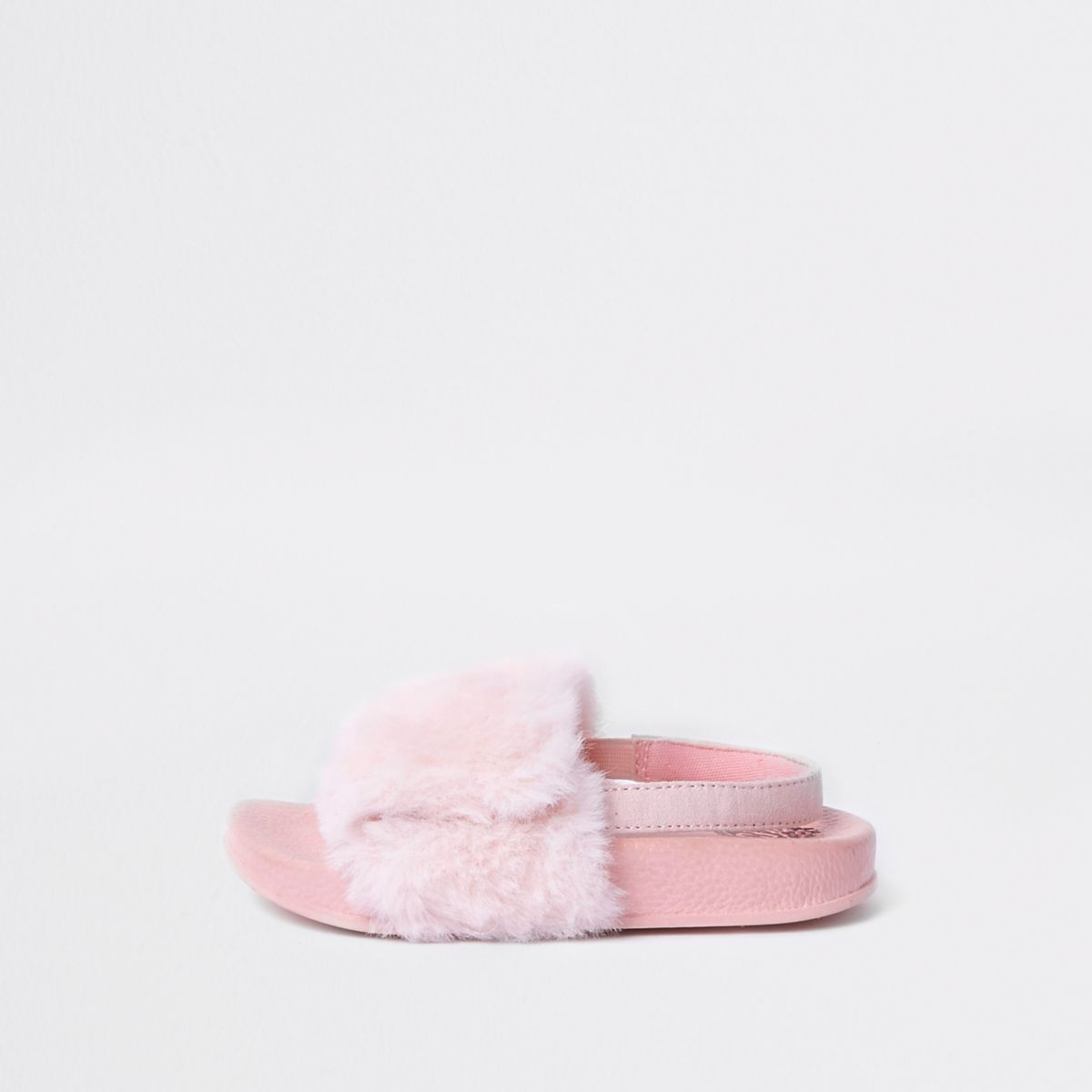 Mini girls pink faux fur sliders