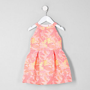Mini girls pink fluorescent floral prom dress