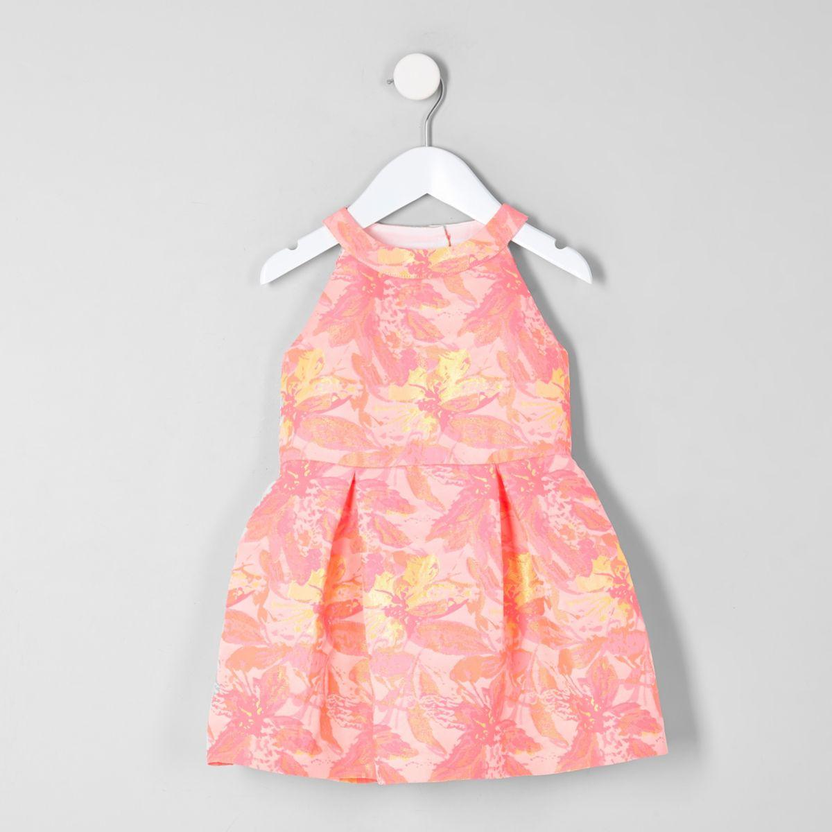Mini girls pink fluorescent floral prom dress