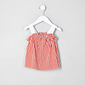Caraco rayé orange à volants mini fille