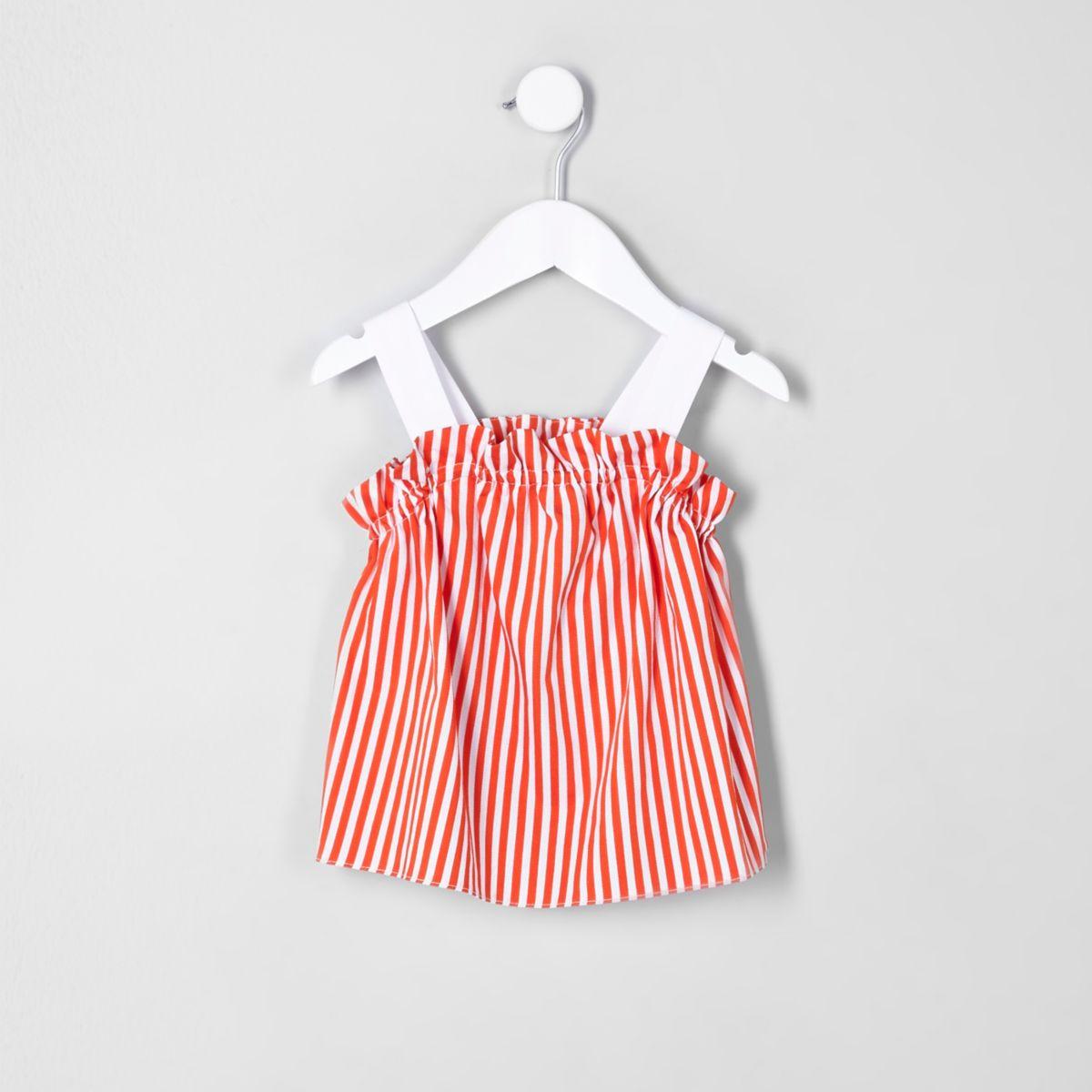 Mini girls orange stripe frill cami top