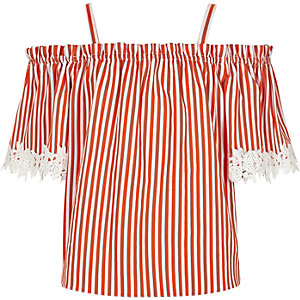 Girls orange stripe lace trim bardot top