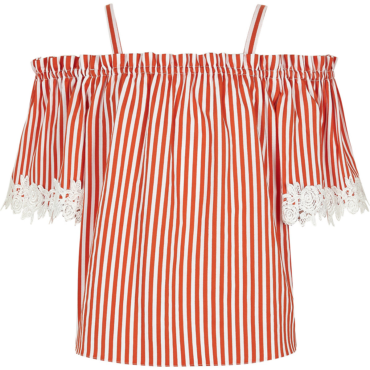 Girls orange stripe lace trim bardot top